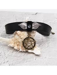 pentagram pu leather choker necklace