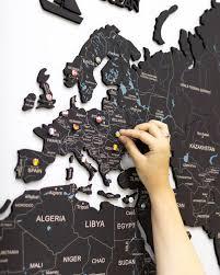 Cork Map Of The World Map Cork Wall Art Travel Map Push Pin Etsy