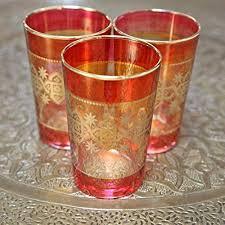 set of six moroccan tea glasses red