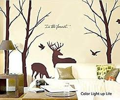 Amazon Com Cukudy Deer Wall Decals Nature Brown Wall Decals Birch Tree Nursery Wall Stickers Trees Are 6 Feet Tall Home Kitchen