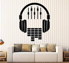 Amazon Com Art Of Decals Amazing Home Decor Large Vinyl Wall Decal Headphones Sound Dj Music Musical Stickers Large Decor 441 Made In The Usa Removable Home Kitchen