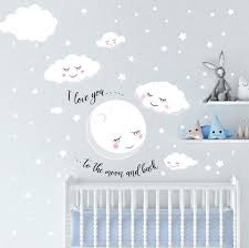 Love You To The Moon And Back Stars Cloud Baby Nursery Room Wall Deca