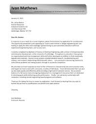 engineering entry level cover letter