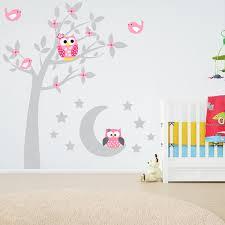 Cartoon Owl Tree Moon Stars Birds Flowers Vinyl Wall Sticker Decal Bedroom Kids Baby Room Nursery Home Decor Wish