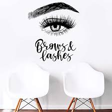 Amazon Com Melissalove Left Eyelashes Decals Quotes Brows Lashes Wall Stickers Beauty Salon Shop Decor Sign Wall Decal Art Vinyl Bedroom Wallpaper Lc465 Black Kitchen Dining