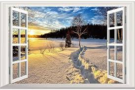 Amazon Com Home Find Winter 3d Window Wall Decals Fake Window Stickers Winter Snow Scenery Sunset View Faux Windows Removable Self Adhesive Vinyl Decor Bedroom Murals 23 6 Inches X 15 7 Inches Home