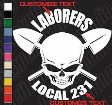 Union Skull Pipe Wrench Pipefitter Plumber Customizable Vinyl Decal Sticker Rainbowlands Lk