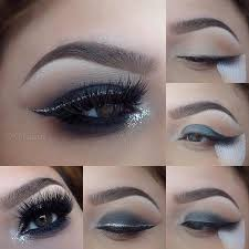 blue grey smokey eye makeup look
