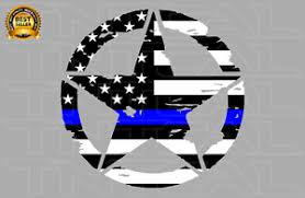 Invasion Star Thin Blue Line Flag Decal Usa Military Car Truck Window Wall Ebay