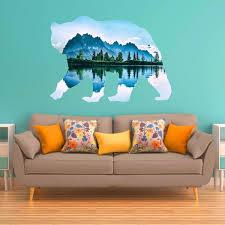Vwaq Natural Bear Peel And Stick Wall Sticker Large Animal Wall Deca