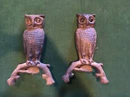 cast iron owl fireplace andirons 114