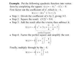 quadratic functions a quadratic