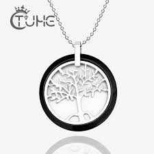 new black white ceramic round pendant
