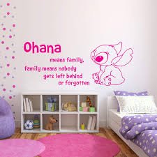 Amazon Com Wall Decals Ohana Means Family Means Nobody Get Left Behind Or Forgotten Lilo And Stitch Wall Decal Vinyl Sticker Wall Decals Nursery Kids Bedroom Made In Usa Kitchen Dining