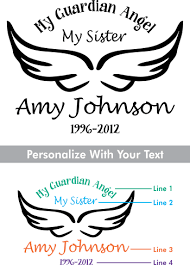 Custom Memorial Guardian Angel Style 3 Vinyl Die Cut Car Decal Starting At 9 99 Angel Names In Loving Memory Car Window Decals