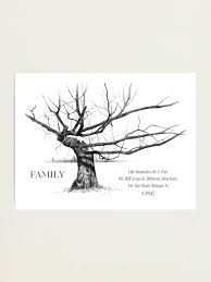family quote gnarly tree in pencil drawing photographic