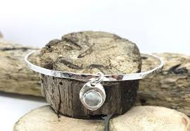 birthstone hammered silver bangle