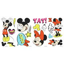 Mickey Mouse And Minnie Mouse Peel And Stick Wall Decals