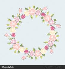 Pink Flowers Wreath Isolated Blue Background Template Flowers