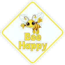 5inx5in Bee Happy Vinyl Bumper Sticker Decal Car Window Stickers Decals Walmart Com Walmart Com