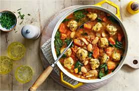chunky veg stew with cheesy dumplings