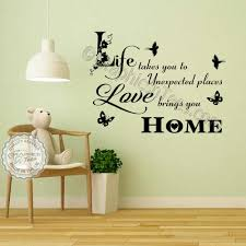Love Brings You Home Inspirational Family Wall Sticker Quote Home Wall Decor Decal With Birds Butterflies