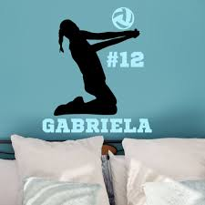 Personalized Female Volleyball Player Sports Wall Decal Sticker Vinyl Written