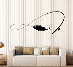 Amazon Com Borismotley Wall Decal Fishing Rod Fisherman Vinyl Removable Mural Art Decoration Stickers For Home Bedroom Nursery Living Room Kitchen Home Kitchen