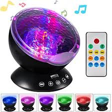 Amazon Com Ocean Wave Projector Night Light Projector Lbell Sleep Sound Machine With Remote Music Player Timer Room Decor For Infant Baby Kids Nursery Living Room And Bedroom Black Home Kitchen