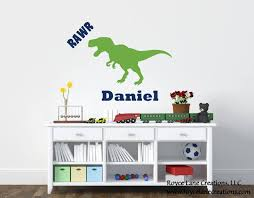 T Rex Decal With Name T Rex Decor Dinosaur Wall Decal With Etsy