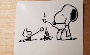 Snoopy And Woodstock Campfire Vinyl Car Window Decal Free Etsy