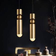 gold cylinder single light pendant lamp