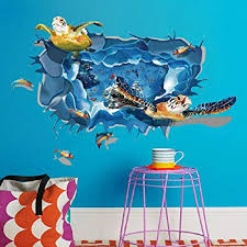 Amazon Com 3d Ocean Wall Sticker Ikevan 60x90cm Turtle Blue Floor Stickers Environmental Protection Pvc Sticker Stereoscopic Wall Decals Sticker Home Wall Decor Gifts Colorful Musical Instruments