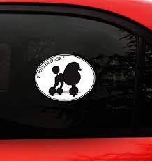 Amazon Com Poodle Decal Sticker Poodles Rock I Love My Standard Miniature Toy Poodle Dog Pet Bumper Sticker For Car Truck Window Size 4 8 X 3 75 Inches Kitchen Dining