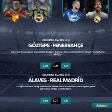 Günün maçları eşsiz #Sekabet avantajları ile kazandırıyor! 🔹 Göztepe -  Fenerbahçe 🔊 20:00 ⚽️ Spor Toto Süper Lig 🔹 Alaves - Real M…