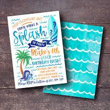 Invitacion De Cumpleanos De Surf Invitacion De Cumpleanos De Etsy