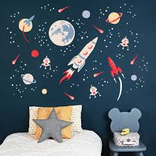 Blue Scheme Kids Bedroom With Space Themed Wall From Koko Kids Space Themed Bedroom Small Kids Bedroom Kids Bedroom Decor