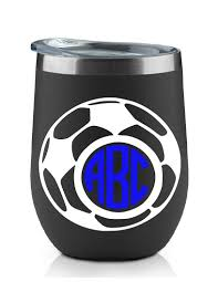 Amazon Com 3 Letter Soccer Monogram Decal Choose The Color And Size Perfect For Car Windows Yeti Cups Computer Case Water Bottle Etc Metallic And Glitter Vinyl Handmade