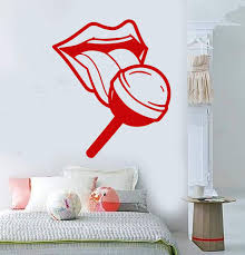 Vinyl Wall Decal Sexy Hot Girl Lips Tongue Candy Lollipop In Mouth Sti Wallstickers4you