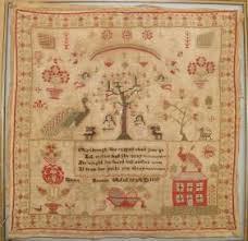 19TH C. SCHOOLGIRL SAMPLER BY ADELINE JOHNSON on | Cross stitch ...