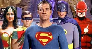 The Justice League. George Reeves as Superman, Adam West as Batman ...