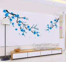 Blue Cherry Blossom Wall Decals White Cuma Wall Decals