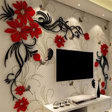 Elegant Flower Vine Pattern Acrylic Material Living Room 3d Wall Sticker Wall Stickers Living Room Wall Stickers Home Decor Wall Decor Stickers