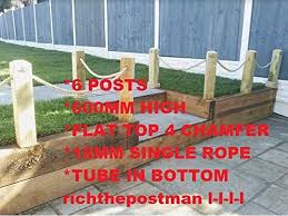 No Dig Wood Post Bollard Picket Rope Fence Wall Driveway Path Garden 45 Degree End Single Rope Version 10 500mm High Amazon Co Uk Diy Tools