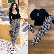 GRACE KOREAN FASHION Priscilla Long Sleeves Top Checkered Pants with Belt  Terno | Lazada PH