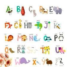 Wall Stickers Kids Alphabet Abc Letters Kids Nursery Decal Decor Animal Ebay