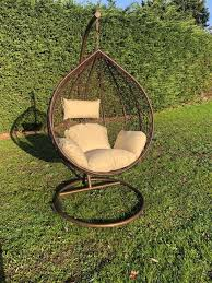 brown patio hanging chair garden rattan