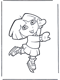 Dora Op Schaatsen Kleurplaat Dora