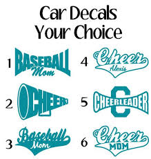Sports Car Decals Window Sticker Cheer Car Decal Cheerleader Baseball Mom Car Decal Cheer Car Decals Window Stickers