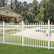 6 X6 White Vinyl Picketlock Pool Fence Spaced Picket Fence Panel Kit At Menards Fence Design Picket Fence Panels Fence Panels